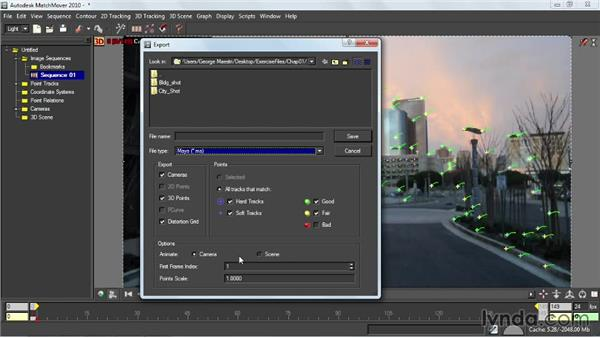 Exporting MatchMover data: Entertainment Creation Suite: Getting Started with MatchMover