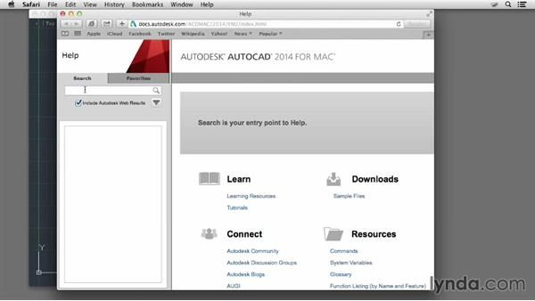 Using the Help menu: Up and Running with AutoCAD for Mac