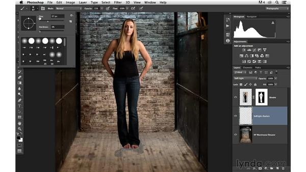 Creating a hand-painted darkening effect: Portrait Project: Changing a Studio Background