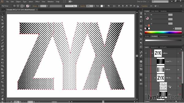 Precisely aligning dots to letterforms: Designing Gradient Dot Patterns with Illustrator