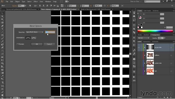 Blending a square gradient dot pattern: Designing Gradient Dot Patterns with Illustrator