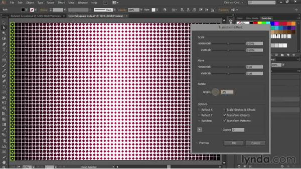 Adding dynamic rotations for a symmetrical wave: Designing Gradient Dot Patterns with Illustrator