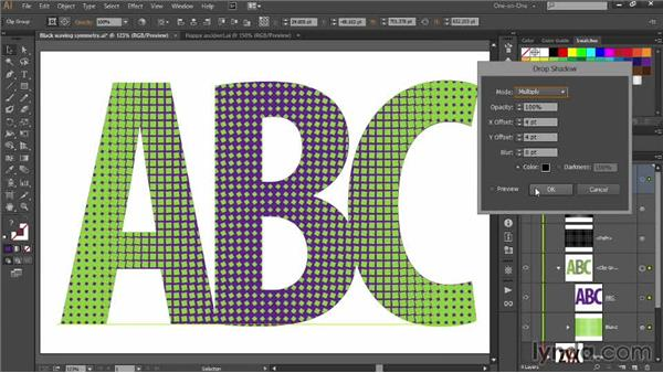 Patterned text and the sharp drop shadow: Designing Gradient Dot Patterns with Illustrator
