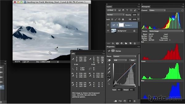 Adjusting tone and color in a landscape: Photoshop Color Correction: Advanced