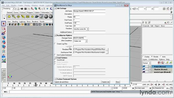 Sending jobs to Backburner from Maya: Entertainment Creation Suite: Getting Started with Backburner
