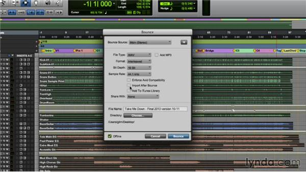 Printing a mix using Offline Bounce: Pro Tools Mixing and Mastering