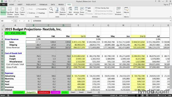 Running a macro from the Developer tab or the View tab: Excel 2013: Macros in Depth