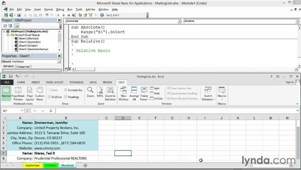 Understanding when to use absolute or relative references: Excel 2013: Macros in Depth
