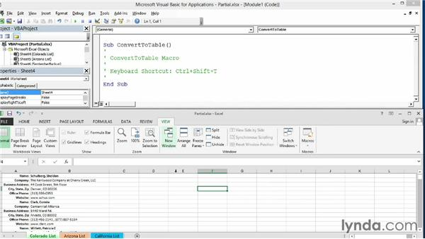 Recording partial code: Excel 2013: Macros in Depth