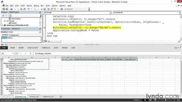 Testing a macro in Step mode: Excel 2013: Macros in Depth