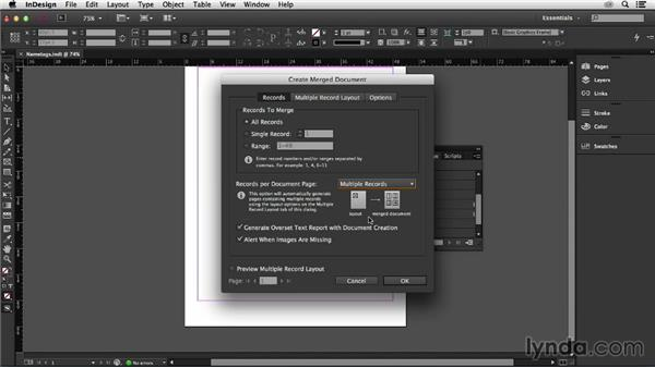 Create the merged document: InDesign Insider Training: Data Merge and Database Publishing