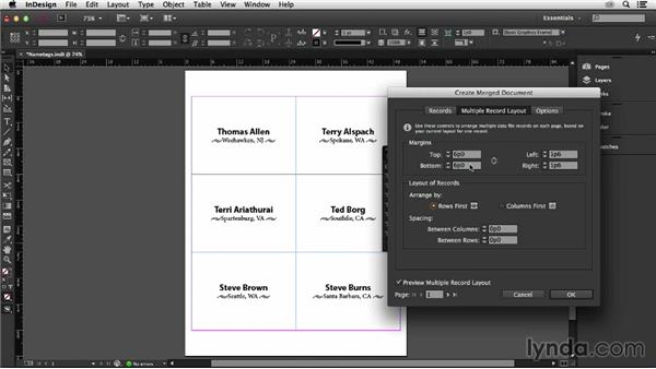 Making it fit the printer paper: InDesign Insider Training: Data Merge and Database Publishing
