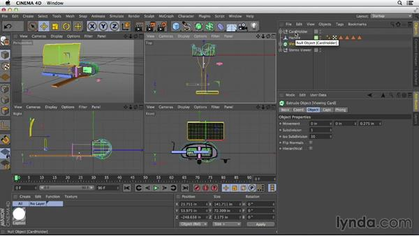 Using the four-way view to place objects: Primitive and Spline Modeling in CINEMA 4D