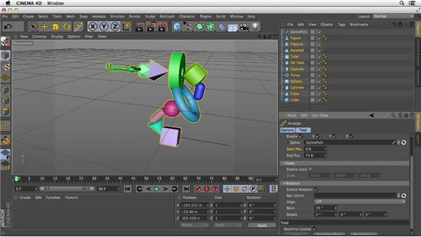 Align and space objects with the Arrange tool: Primitive and Spline Modeling in CINEMA 4D