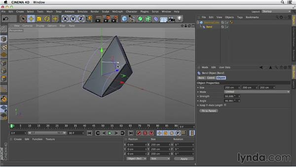 Modifying basic shapes with deformers: Primitive and Spline Modeling in CINEMA 4D