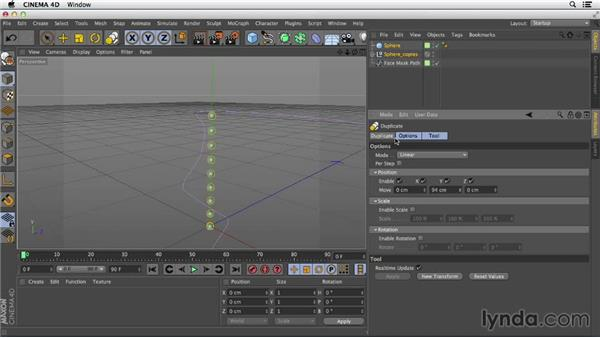 Using the Duplicate command: Primitive and Spline Modeling in CINEMA 4D