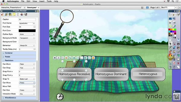 Controlling interactions with the Property Browser: Up and Running with Promethean ActivInspire