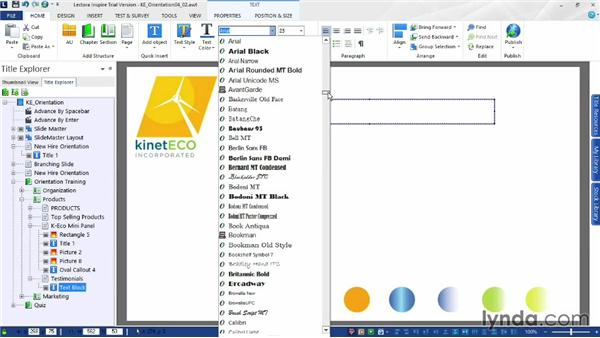 Formatting text: Up and Running with Lectora Inspire