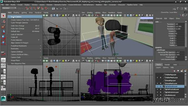Displaying and moving orthographic cameras: Cinematography in Maya