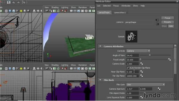 Setting clipping plane attributes: Cinematography in Maya