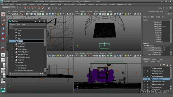 Using bookmarks for alternative orthographic views: Cinematography in Maya
