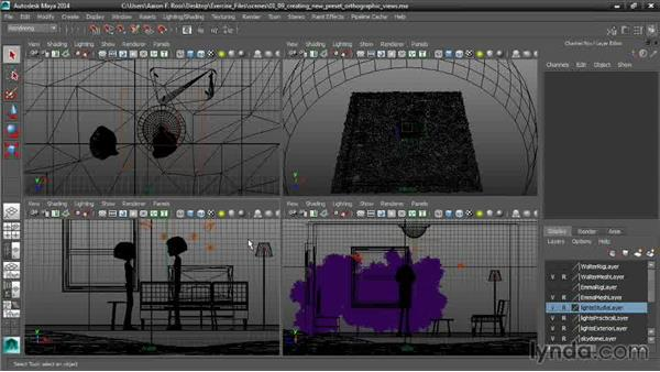 Creating new preset orthographic views: Cinematography in Maya