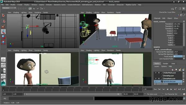 Animating a pan and a truck: Cinematography in Maya