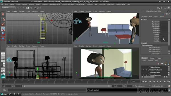 Keying a truck in only one axis: Cinematography in Maya