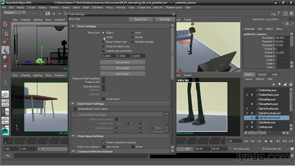 Animating a tilt and a pedestal: Cinematography in Maya