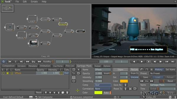 Creating mattes with garbage masks: Entertainment Creation Suite: Getting Started with Toxik