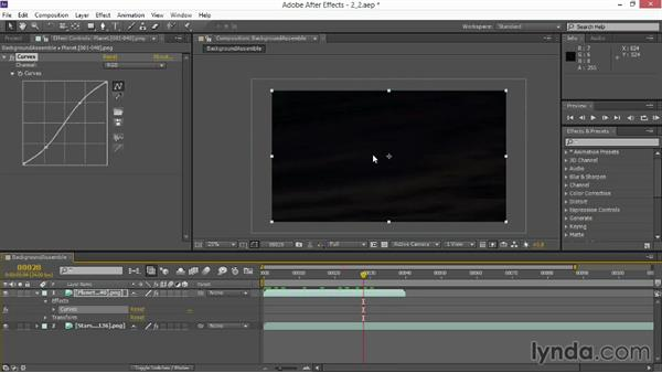 Combining background elements: VFX Techniques: Space Scene 02: Compositing in After Effects