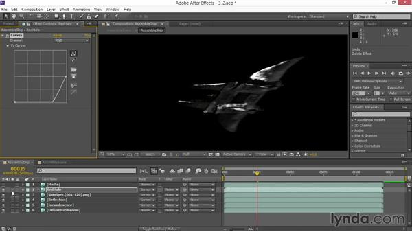 Altering specularity: VFX Techniques: Space Scene 02: Compositing in After Effects