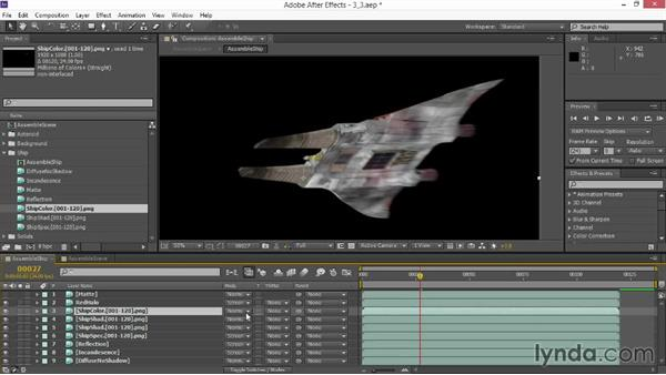 Integrating shadow passes and adding color: VFX Techniques: Space Scene 02: Compositing in After Effects