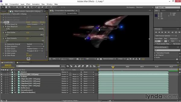 Animating engine flames: VFX Techniques: Space Scene 02: Compositing in After Effects