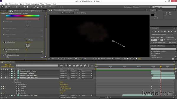 Integrating a 3D particle render: VFX Techniques: Space Scene 02: Compositing in After Effects