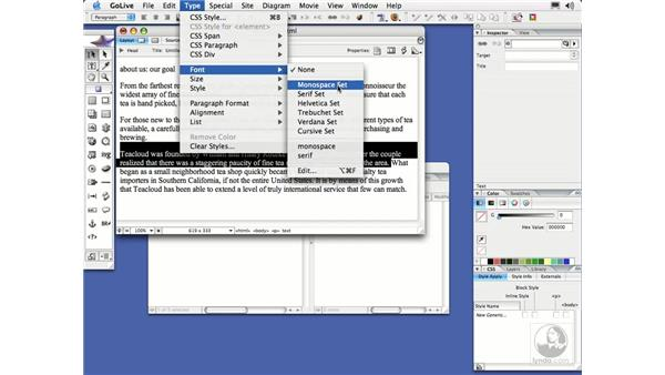 Working with Fonts: GoLive CS2 Essential Training