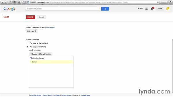 Creating a webpage: Google Sites Essential Training