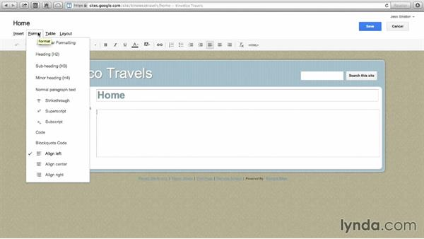 Editing pages: Google Sites Essential Training