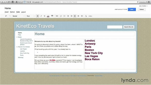 Changing layouts: Google Sites Essential Training