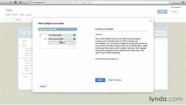 Inserting gadgets: Google Sites Essential Training