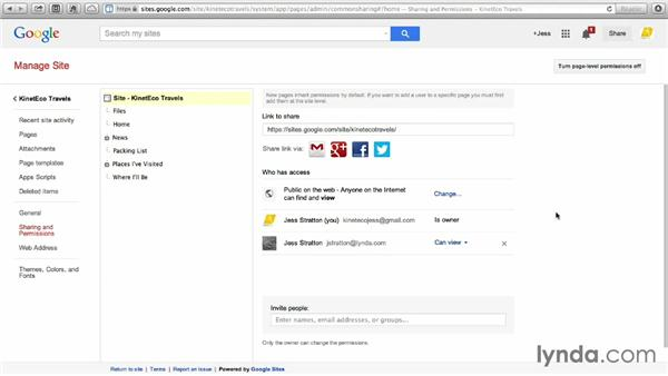 Setting page-level permissions: Google Sites Essential Training