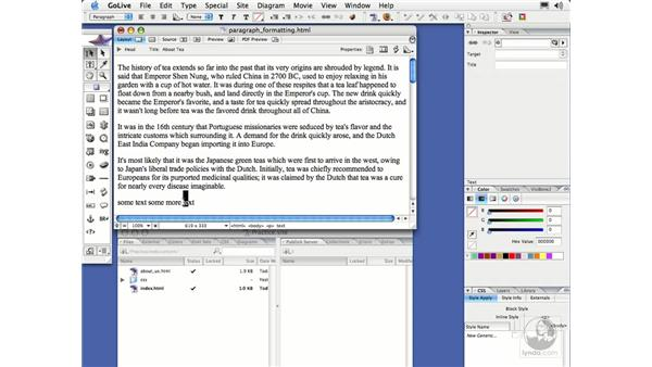 Paragraph Formatting: GoLive CS2 Essential Training