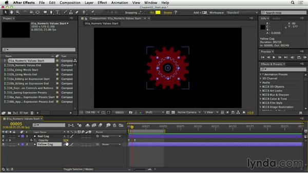 Changing the numeric value of a property: After Effects Expressions: Getting Started