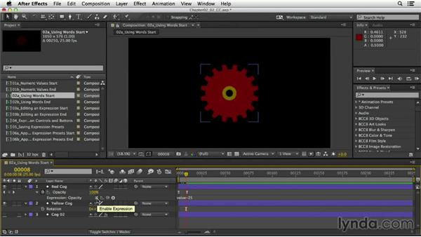 Using words in expressions: After Effects Expressions: Getting Started