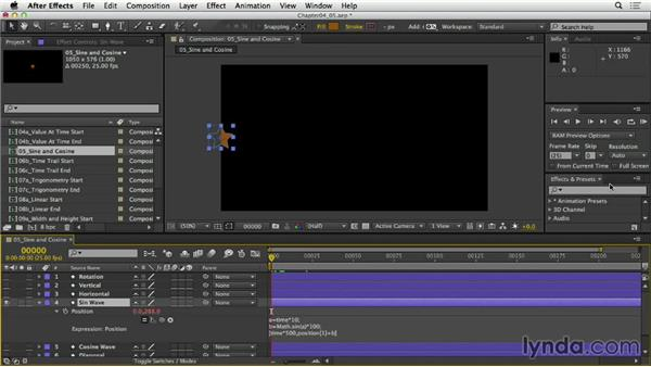 Working with sine and cosine functions: After Effects Expressions: Getting Started