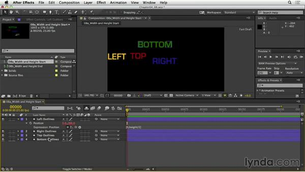 Referring to width and height: After Effects Expressions: Getting Started