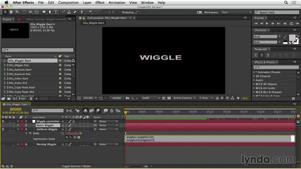 Exploring other options for wiggle: After Effects Expressions: Getting Started