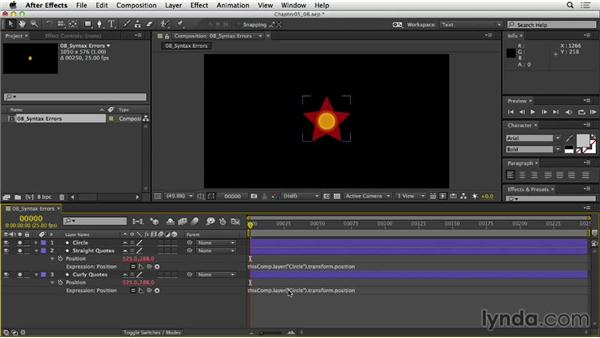 Interpreting syntax errors: After Effects Expressions: Getting Started
