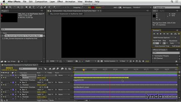 Converting expressions to keyframes: After Effects Expressions: Getting Started