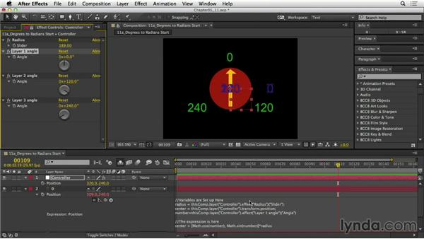 Converting values from degrees to radians: After Effects Expressions: Getting Started